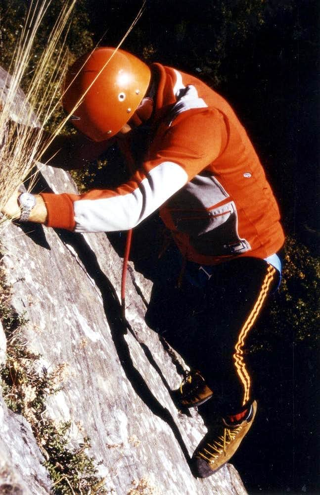 Old Traings an old way with  Free Traverse on slab 1978