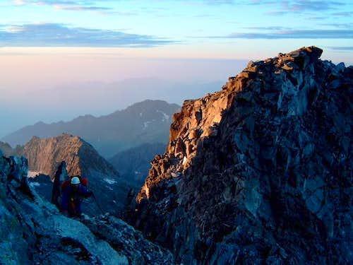 Sunrise from the ridge:...