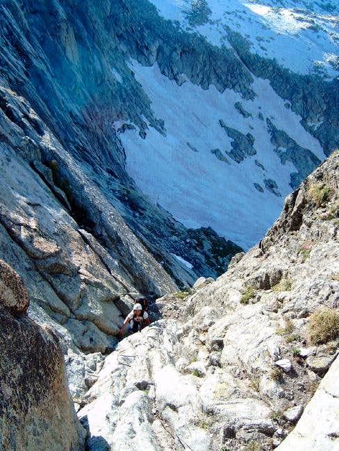 Climbing a rock couloir