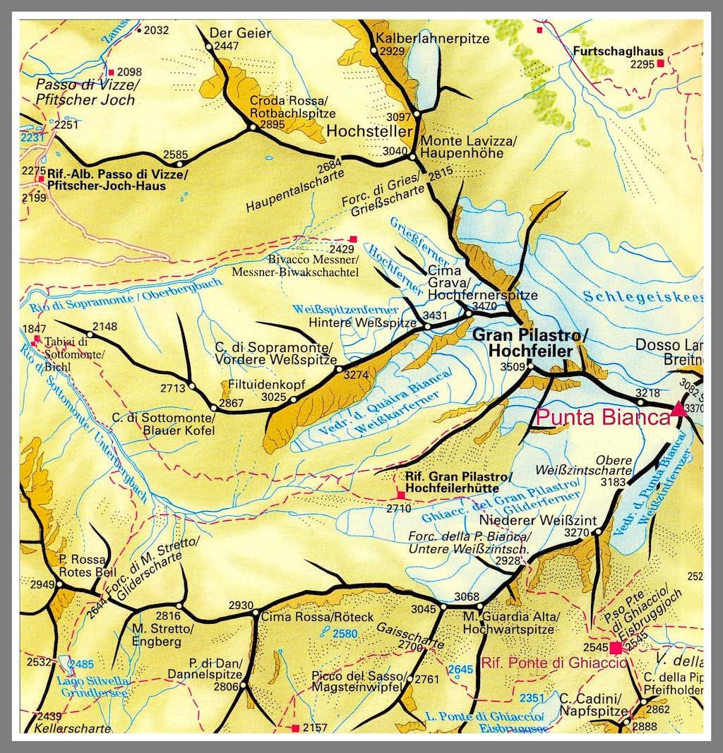 Hoher Weisszint - Punta Bianca map