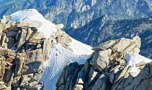 Heading out over the crux, Lone Peak summit ridge.