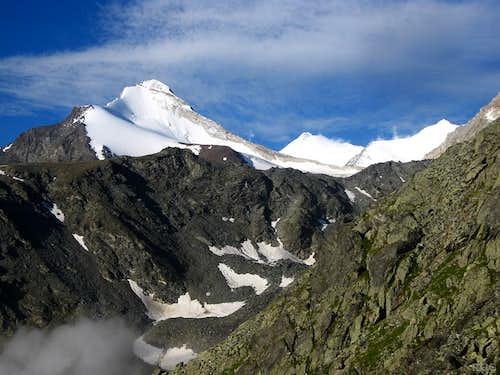 Brunegghorn, Weisshorn and Bishorn from the Topalihütte
