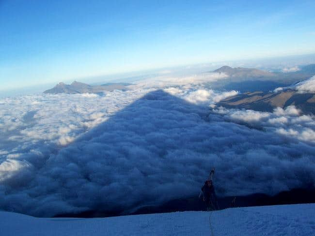 Mountain shadow nearing the...