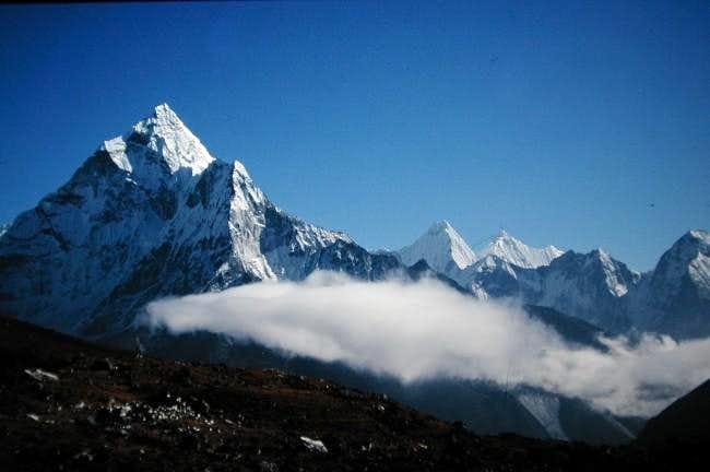 Ama Dablam from side, trail...