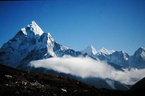 Ama Dablam from side, trail...