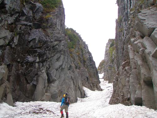 Lower reaches of the couloir