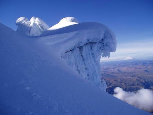 Glacier formation on Cayambe....