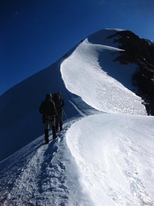 Heading out on the Pollux summit ridge