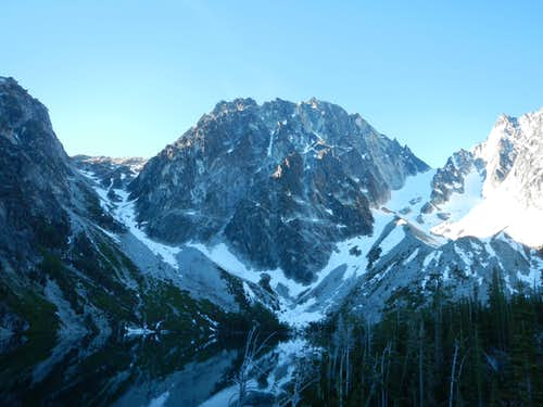 Dragontail Peak looms over Colchuck Lake