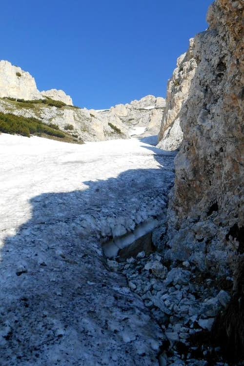 Firn snow gully, east face Monte Acquaviva