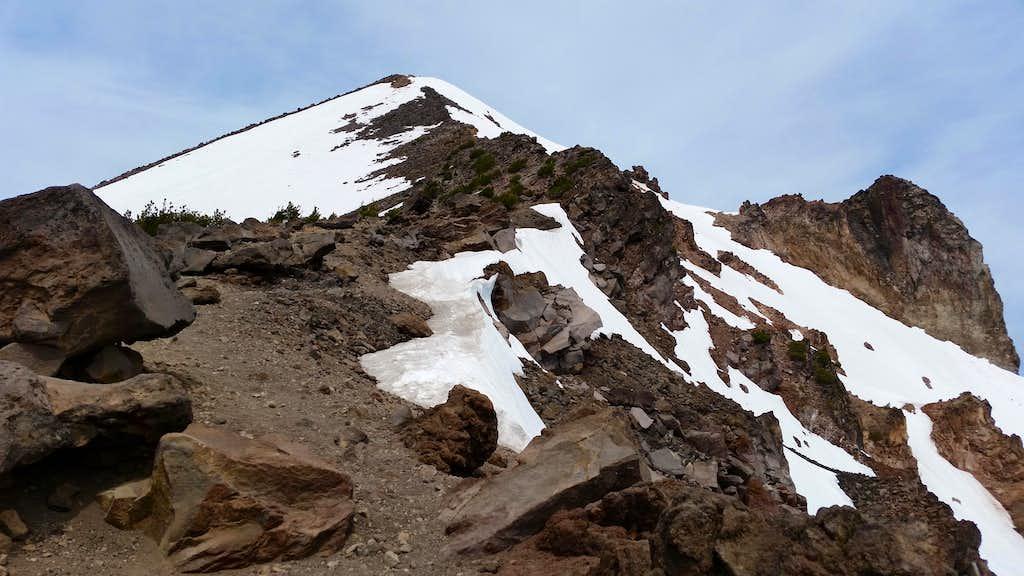 A view up McLoughlin's summit ridge