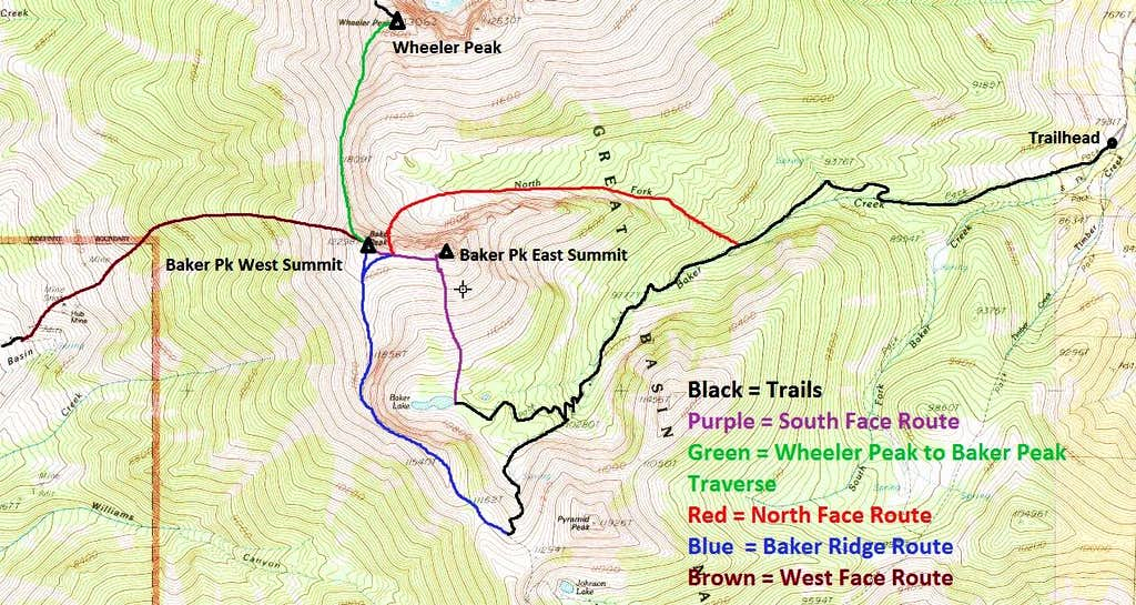 Baker Peak Routes