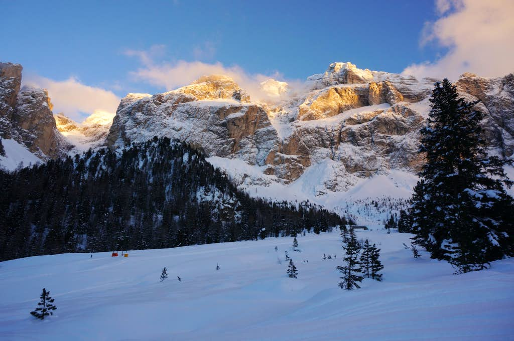Sella Group West Face at Sunset