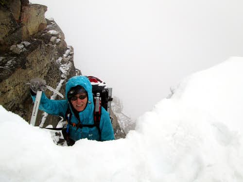Me about to climb over the cornice