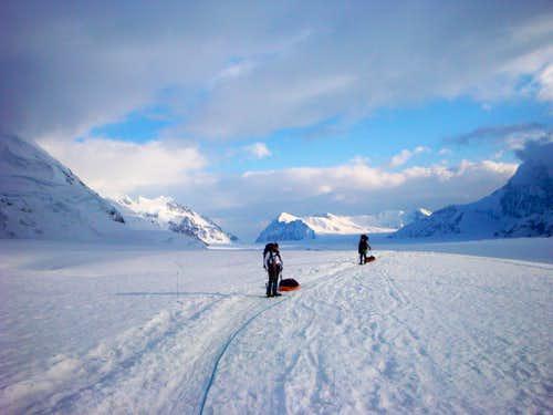 Trekking up the Kahiltna Glacier en route to Camp I