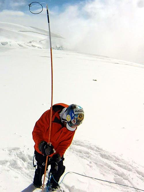Probing at 13500 ft before going off rope to dig a cache