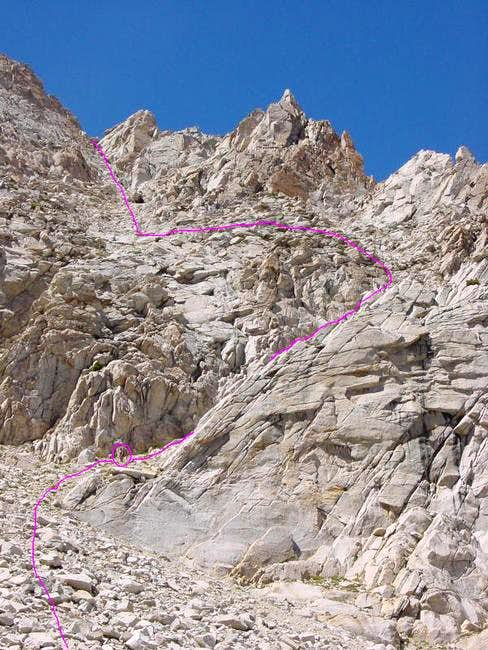 The East Ridge route is shown...