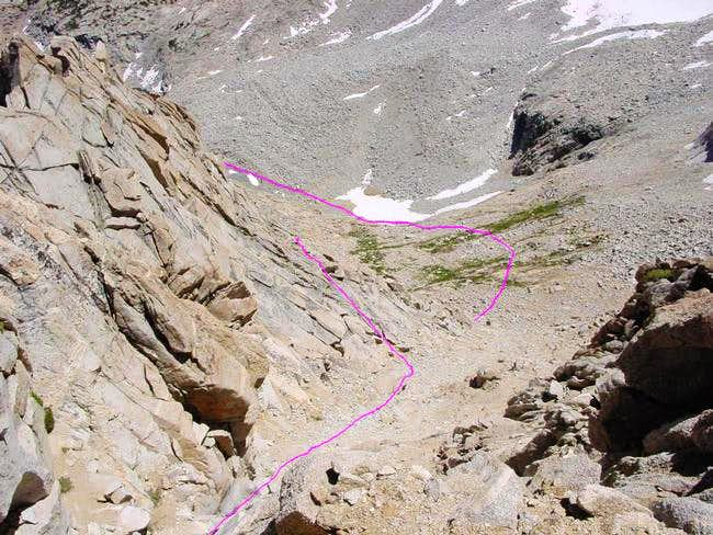 The East Ridge route shown...