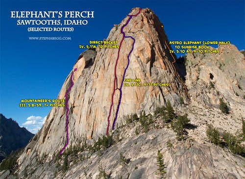 4 climbs of Elephant's Perch: Mountaineer's Route, Direct Beckey, Fine Line, Astro-Sunrise Book