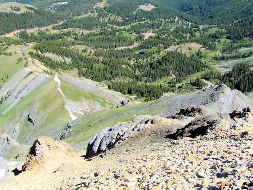 Looking down the northwestern ridgeline