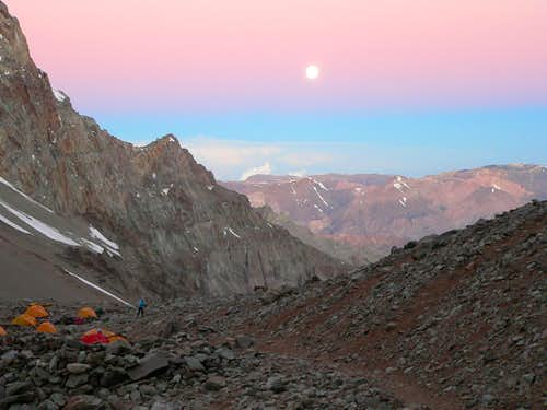 Moon over camp 1 - Aconcagua