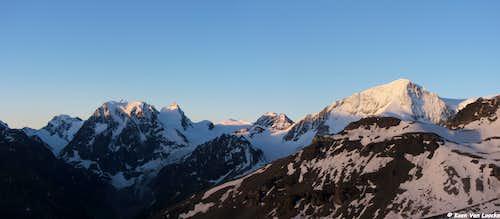 Pigne d'Arolla and Mont Collon at sunrise