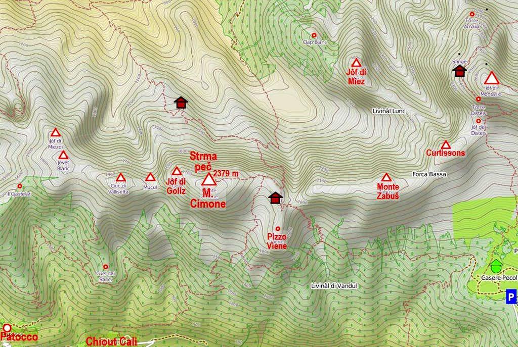 Monte Cimone / Strma pec map