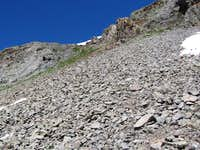 A section of scree below the summit