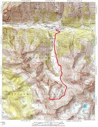 Map of Yellow Mountain South from Waterfall Creek Valley