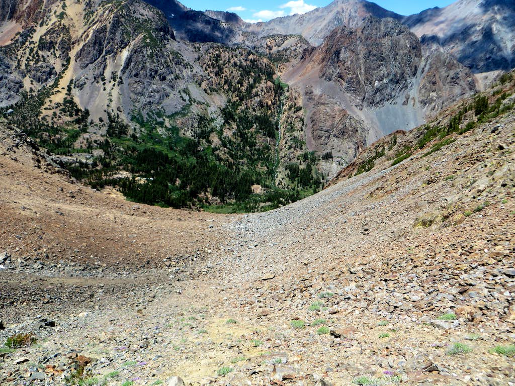 View down the north side scree slope