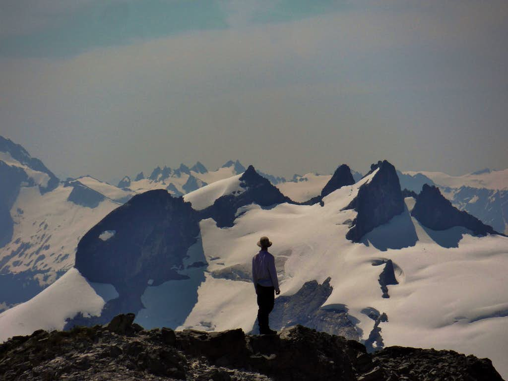 Mike Lewis staring at route up Icy Peak