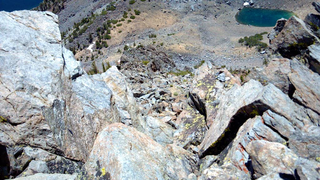 View from the summit down the south face