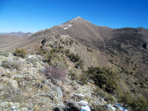 view of the long ridge to Diamond's summit