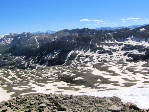 Bridal Veil Basin with the distant Uncompahgre 14309 ft & Wetterhorn 14015 ft Peaks