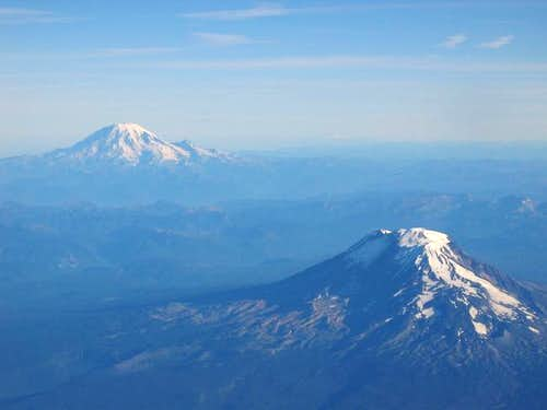 Mt Adams and Mt Rainier. Sep...