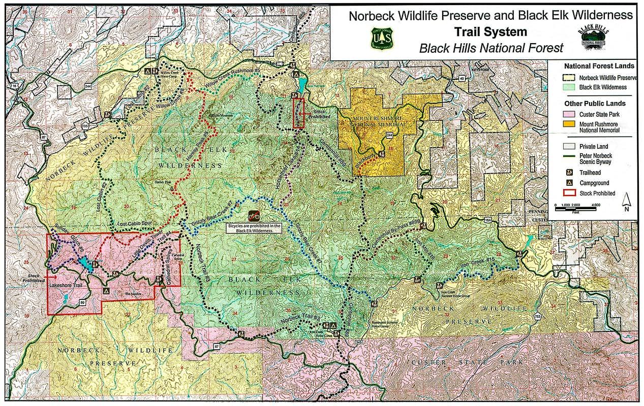 Black Elk Peak Harney Peak Climbing Hiking and Mountaineering – Black Hills Tourist Map
