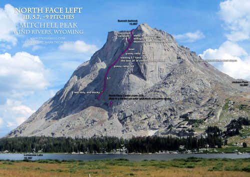 Mitchell North Face Left Route Overlay