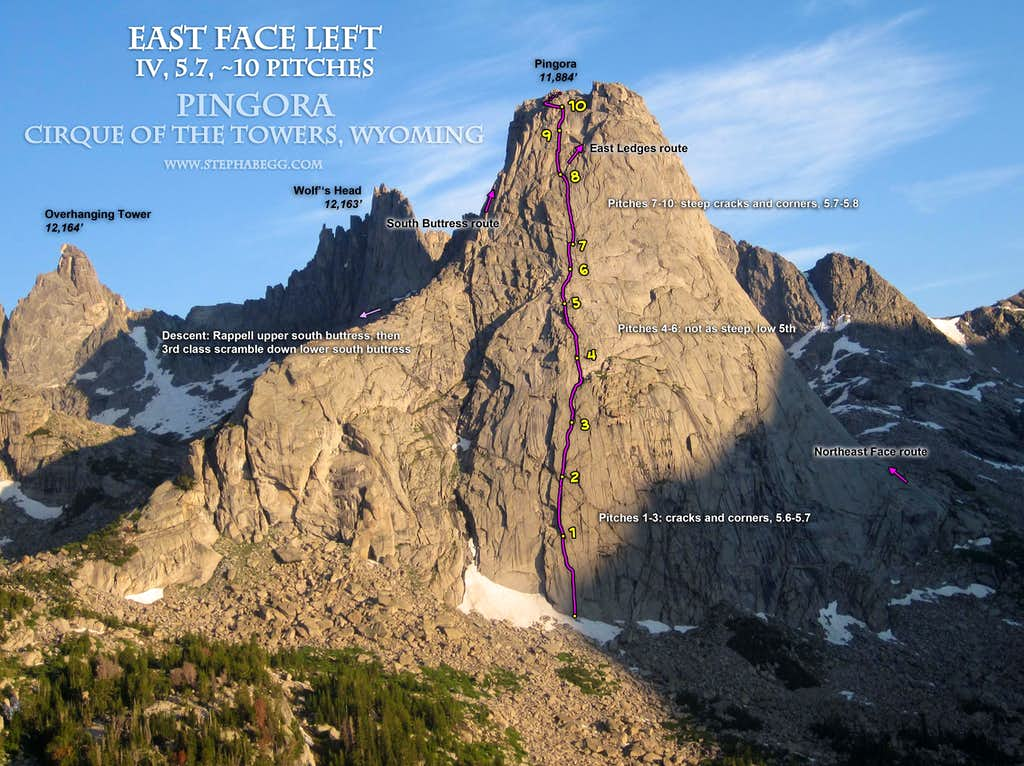Pingora East Face Route Overlay