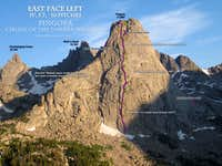 Six climbs in the Cirque: Overhanging Tower, Pingora, Mitchell, Shark\'s Nose, Pingora, Sundance Pinnacle