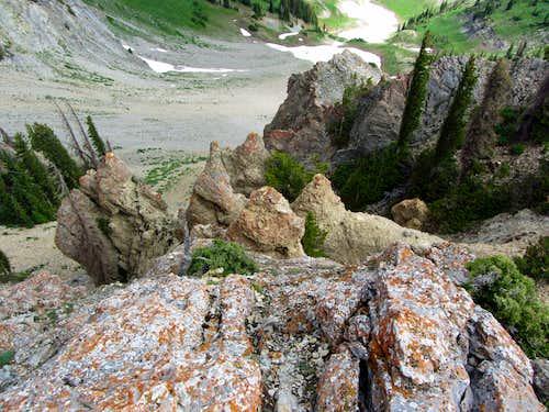 Steep terrain below Provo Ridge