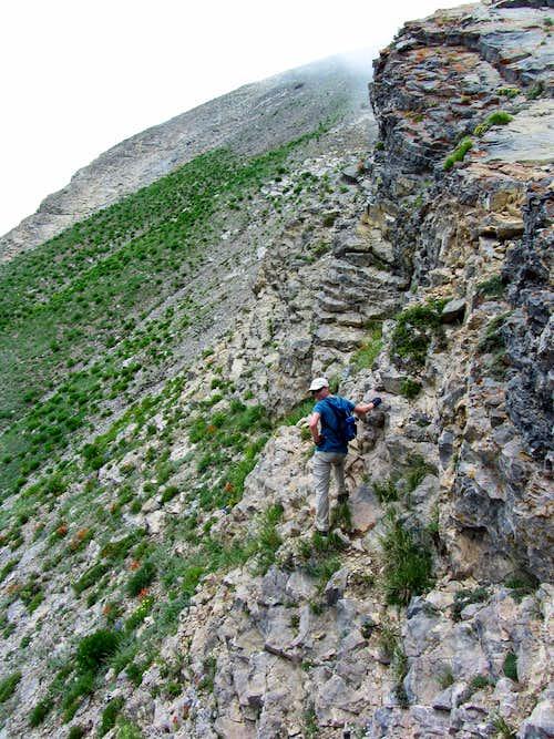 Scramble below east ridge spine