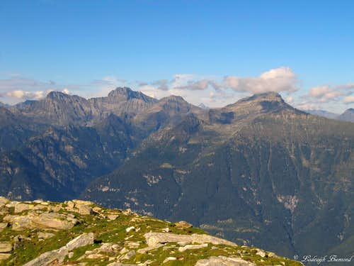 Torrent Basso (2820m), Torrone Alto (2952m) and Pizzo di Claro (2727m) as seen from Gaggio (2267m)