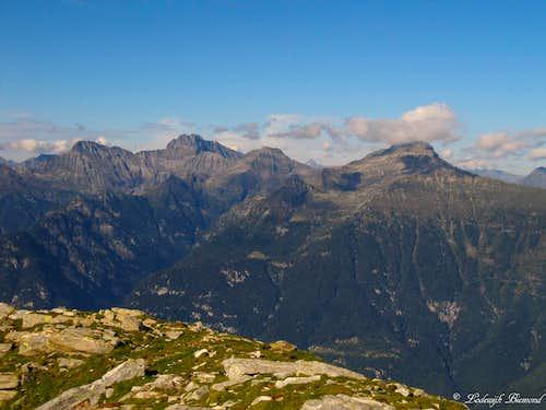 Torrent Basso (2820m), Torrone Alto (2952m) and Pizzo di Claro (2727m) as seen from Gaggio (2267m)