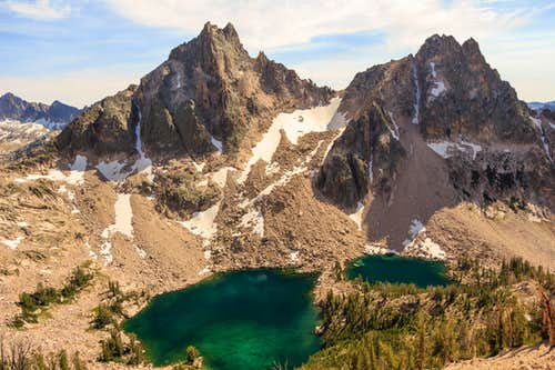 Packrat Peak and Mayan Temple over the Warbonnet Lakes