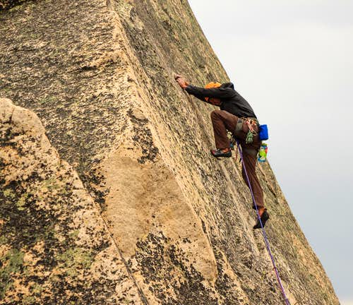Big high step on Warbonnet's summit pitch