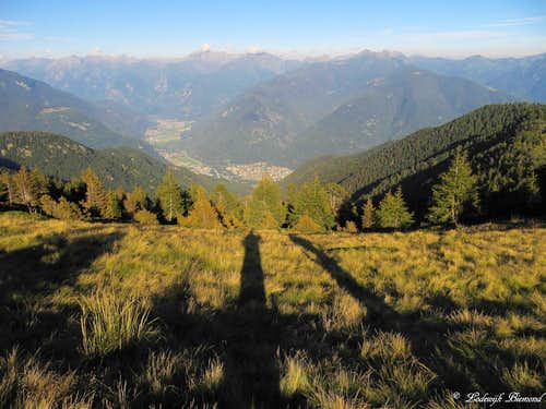 Long shadows in front of the Leventina Valley