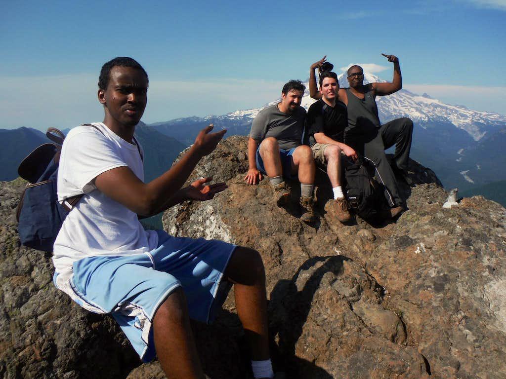 Crew posing on top
