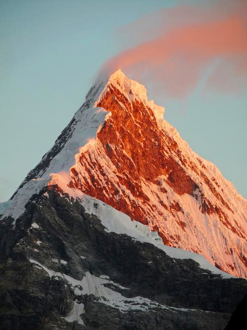 Windy Alpenglow on Artesonraju