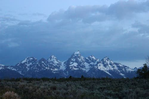 Teton Range at night