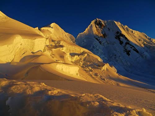 Evening Light on Quitaraju and the Alpamayo Col